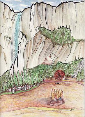 Yosemite National Park Drawing - Yosemite Falls by Merrily McCarthy