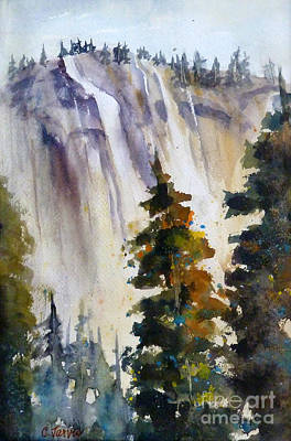 Yosemite Falls With Trees Print by Carolyn Jarvis