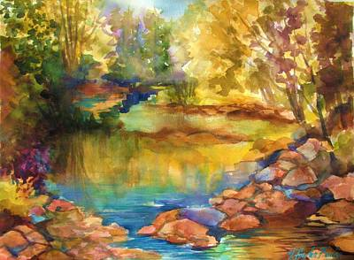 Yosemite Golden Trees On Still Waters Print by Therese Fowler-Bailey