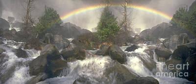 Yosemite National Park Ca Panorama Lower Falls Rainbow Mist Print by David Zanzinger