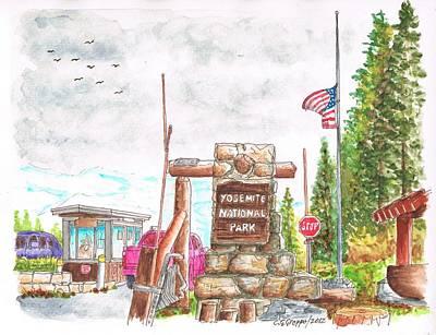Carlos Lee Painting - Yosemite National Park Ca-tioga Pass Entrance by Carlos G Groppa