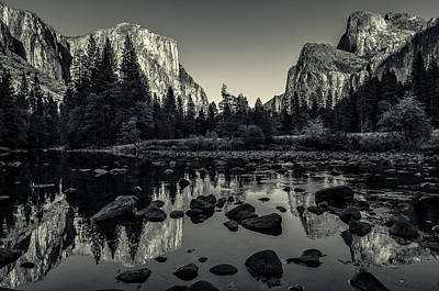 Black White Photograph - Yosemite National Park Valley View Reflection by Scott McGuire