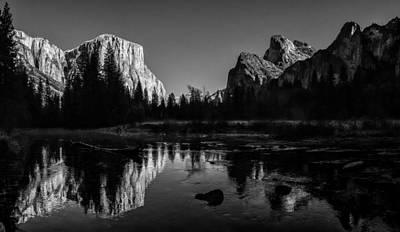 Cathedral Rock Photograph - Yosemite National Park Valley View Winterscape by Scott McGuire