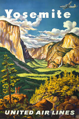 Yosemite National Park Mixed Media - Yosemite United Airlines by David Wagner
