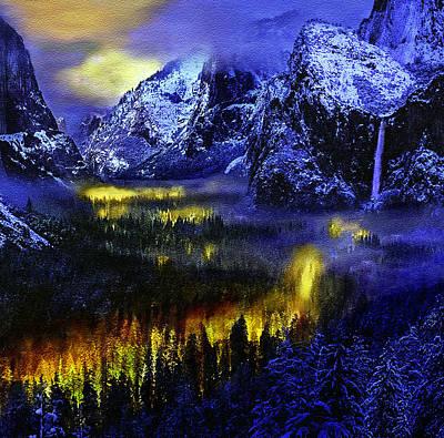 Yosemite National Park Digital Art - Yosemite Valley At Night by Bob and Nadine Johnston