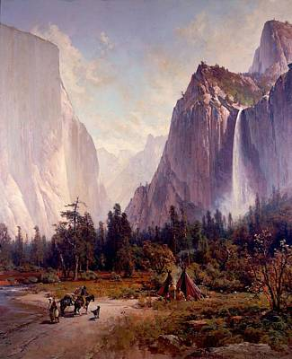 Park Scene Drawing - Yosemite Valley by Celestial Images