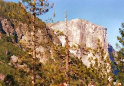 Digital Art - Yosimite White Mountain Painting by Asbjorn Lonvig