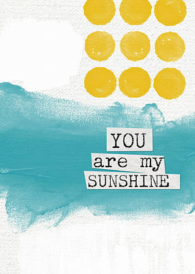 Babies Mixed Media - You Are My Sunshine- Abstract Mod Art by Linda Woods