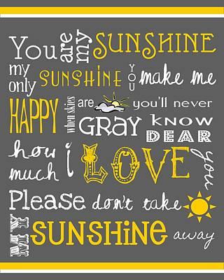Childs Bedroom Art Digital Art - You Are My Sunshine by Jaime Friedman