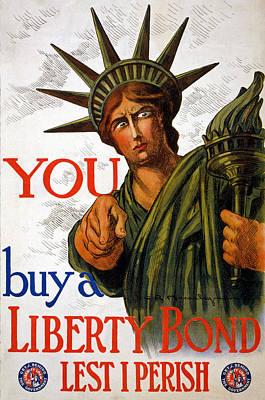 Us Propaganda Drawing - You Buy A Liberty Bond, 1917 by Charles Raymond Macauley