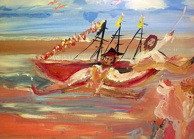 Pirate Ship Painting - You Said It Was A Big Boat by Judith Desrosiers