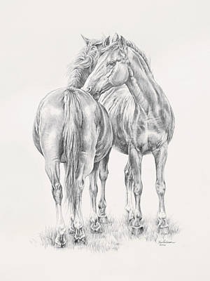 Wild Horses Drawing - You Scratch My Back I'll Scratch Yours by Kim Lockman