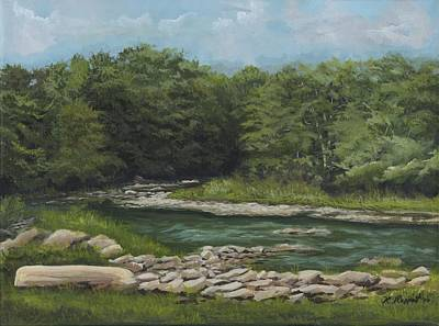 Babbling Brook Painting - Youghiogheny River by Ken Messinger-Rapport