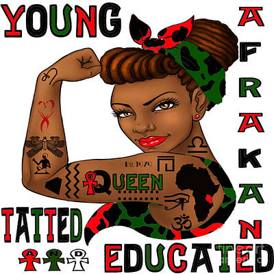 Young Afrakan Tatted And Educated Print by Respect the Queen