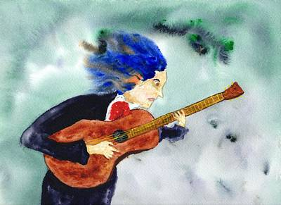 John Mayer Painting - Young  Beethoven On Guitar by Jim Taylor