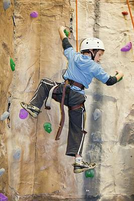 Young Boy On A Climbing Wall Print by Ashley Cooper