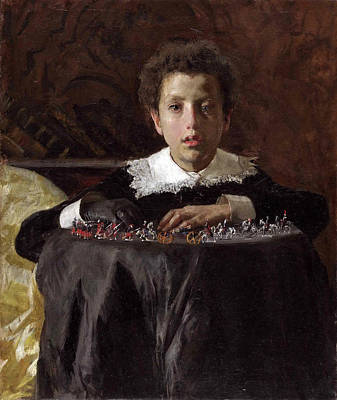 Toy Soldiers Painting - Young Boy With Toy Soldiers by Antonio Mancini