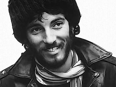 Bruce Springsteen Digital Art - Young Bruce Springsteen by Dan Sproul