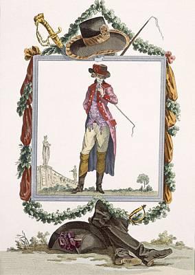 Young Elegant Courtier Of The Palais Print by Francois Louis Joseph Watteau