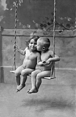 Black And White Nude Couple Photograph - Young French Lovers On A Swing by Underwood Archives