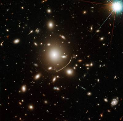 Astrophysical Photograph - Young Galaxy Lensed By Cluster Abell 383 by Nasa/esa/stsci/j. Richard (observatory Of Lyon)/j.-p. Kneib (astrophysical Laboratory Of Marseille)