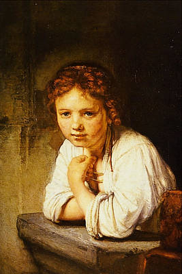 Young Girl At A Window Print by Rembrandt