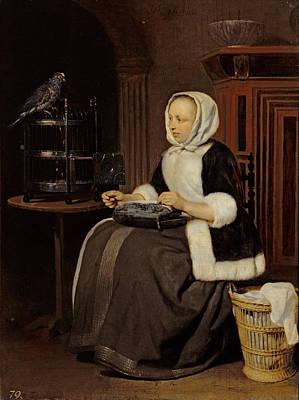 Young Girl At Work Print by Gabriel Metsu