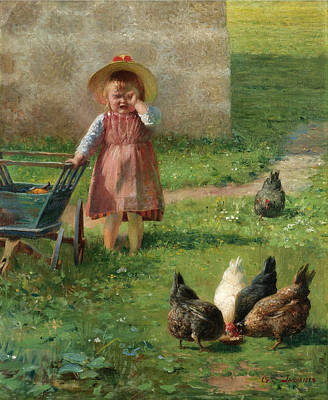 Georgio Painting - Young Girl In A Garden by Georgios Jakovidis