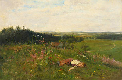 Adolf Painting - Young Girl In A Meadow by Adolf Echtler