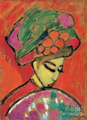 Putin Painting - Young Girl With A Flowered Hat by Celestial Images