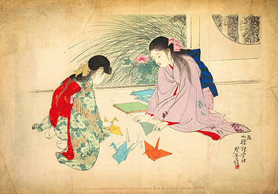 Girl Painting - Young Girls Making Paper Cranes by Celestial Images