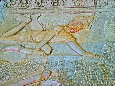 Angkor Digital Art - Young God-figure On Wall In Angkor Wat In Angkor Wat Archeological Park Near Siem Reap-cambodia by Ruth Hager