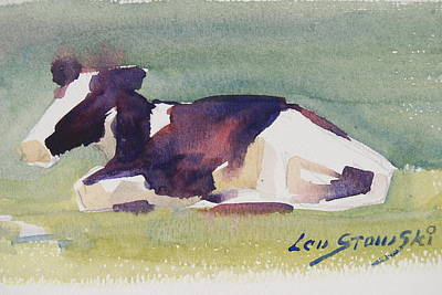 Young Holstein Heifer Napping Original by Len Stomski