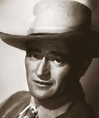 Icon Mixed Media - Young John Wayne Painting Traditional by Tony Rubino