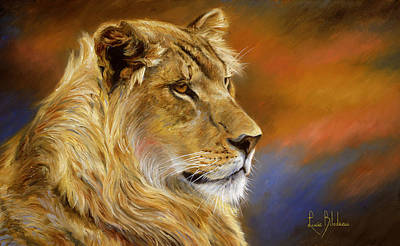 Lion Painting - Young Lion by Lucie Bilodeau