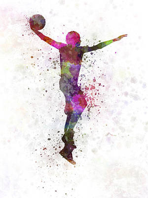 Dunk Painting - Young Man Basketball Player Dunking by Pablo Romero