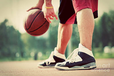 Young Man On Basketball Court Dribbling With Bal Print by Michal Bednarek
