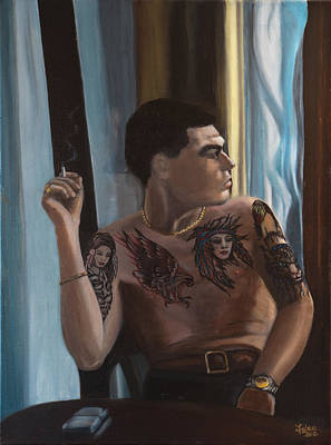 Young Man With Tattoos Print by Joanna Lee