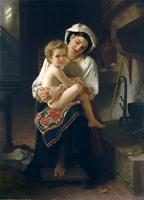 William-adolphe Bouguereau Painting - Young Mother Gazing At Her Child by William-Adolphe Bouguereau