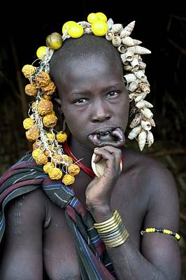 African People Photograph - Young Mursi Girl Without Lip Plate by Tony Camacho