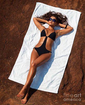 Young Sexy Woman In Swimsuit Sunbathing Print by Oleksiy Maksymenko