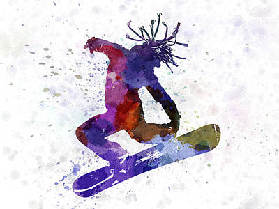Snowboarder Painting - Young Snowboarder by Pablo Romero
