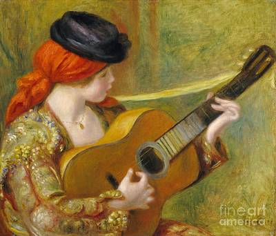 Traditional Painting - Young Spanish Woman With A Guitar by Pierre Auguste Renoir