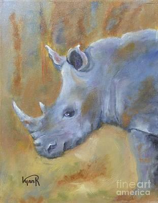 White Rhino Painting - Young White Rhino by Lynn Rattray