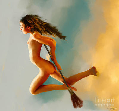 Outdoor Nude Painting - Young Witch In Flight by Ted Guhl