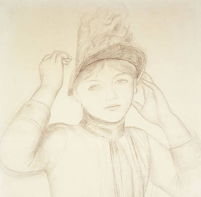 Faces Drawing - Young Woman Arranging Her Hat by Pierre Auguste Renoir