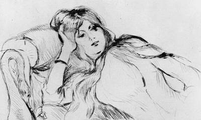 Young Woman At Rest Print by Berthe Morisot