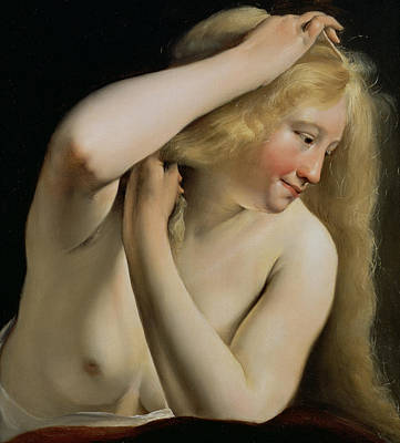 Dressing Painting - Young Woman Combing Her Hair by Salomon de Bray