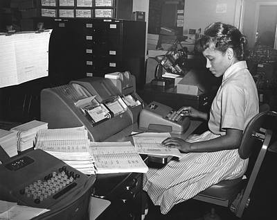 Negro Photograph - Young Woman Entering Data by Underwood Archives