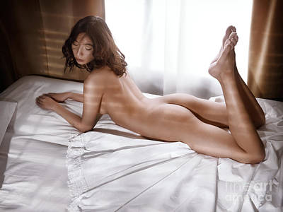 Nude Photograph - Young Woman Lying In Bed Naked By A Window by Oleksiy Maksymenko